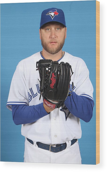 Media Day Wood Print featuring the photograph Mark Buehrle by Marc Serota