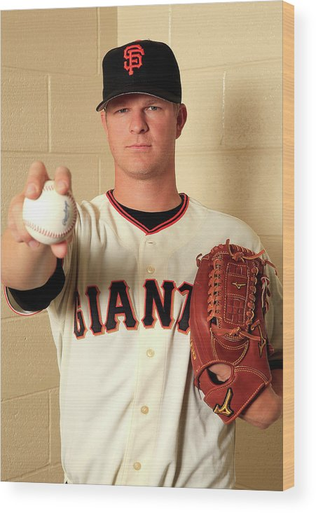 Media Day Wood Print featuring the photograph Matt Cain by Jamie Squire