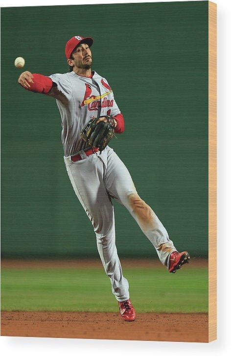 St. Louis Cardinals Wood Print featuring the photograph Matt Carpenter by Jamie Squire