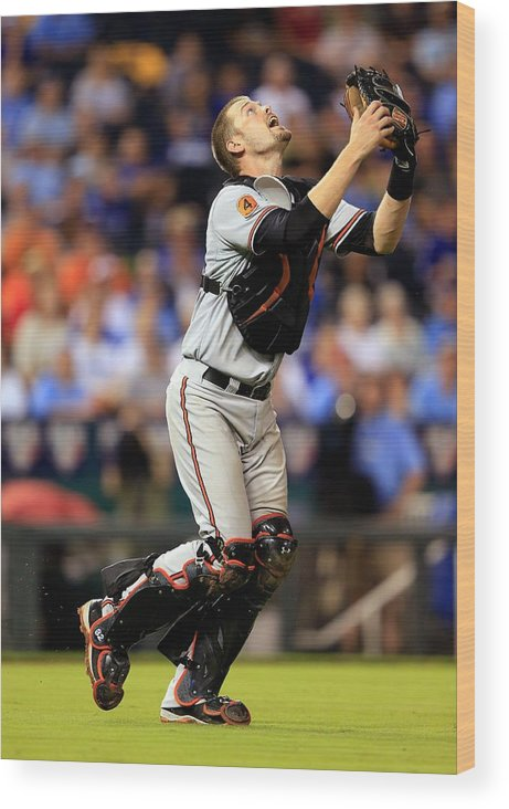 American League Baseball Wood Print featuring the photograph Matt Wieters by Jamie Squire