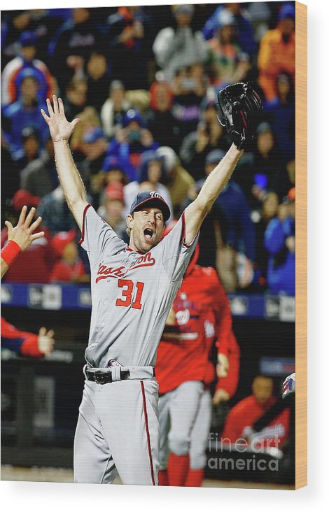 Three Quarter Length Wood Print featuring the photograph Max Scherzer by Al Bello