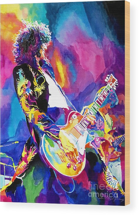 Jimmy Page Artwork Wood Print featuring the painting Monolithic Riff - Jimmy Page by David Lloyd Glover