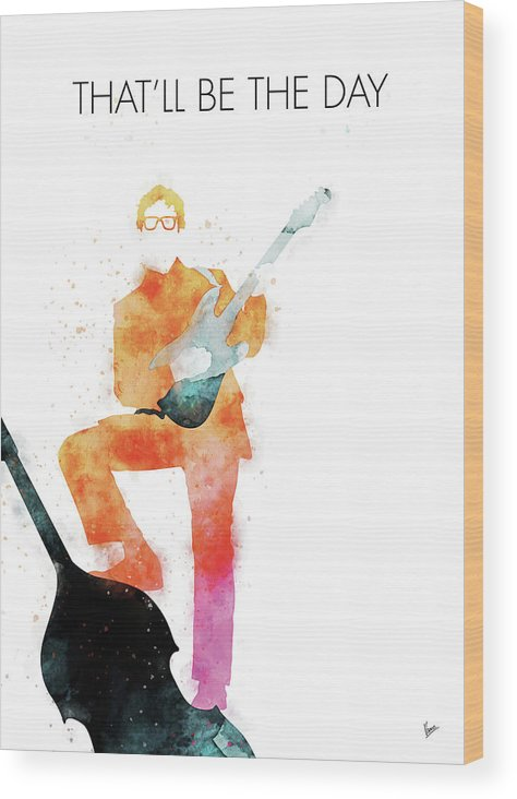 Buddy Wood Print featuring the digital art No056 MY BUDDY HOLLY Watercolor Music poster by Chungkong Art