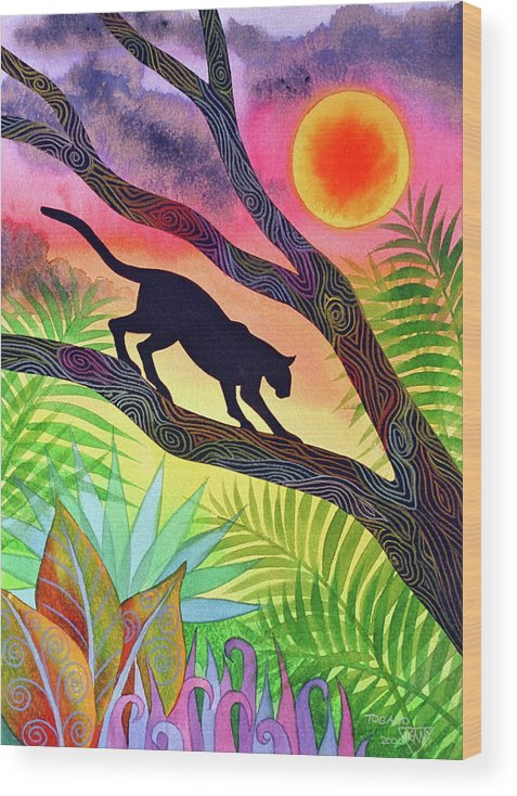 Sunset Wood Print featuring the painting Ocelot at Sunset by Jennifer Baird