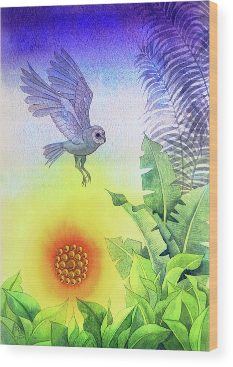Sunset Wood Print featuring the painting Owl at Sunset by Jennifer Baird