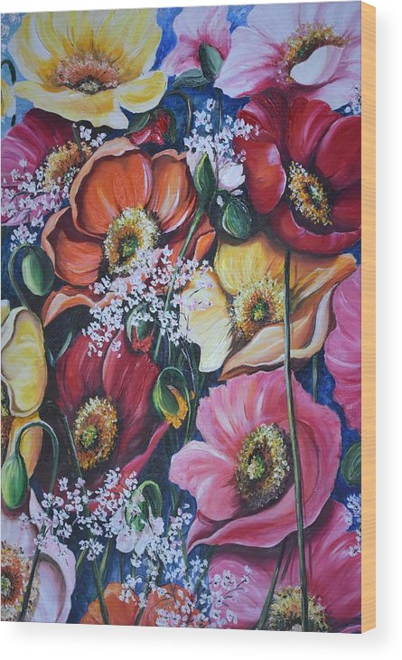 Poppies Wood Print featuring the painting Poppies Delight by Karin Dawn Kelshall- Best
