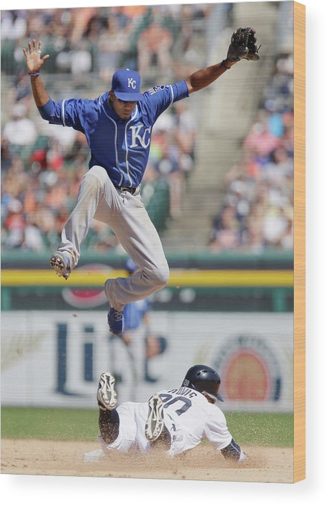 People Wood Print featuring the photograph Rajai Davis and Alcides Escobar by Duane Burleson