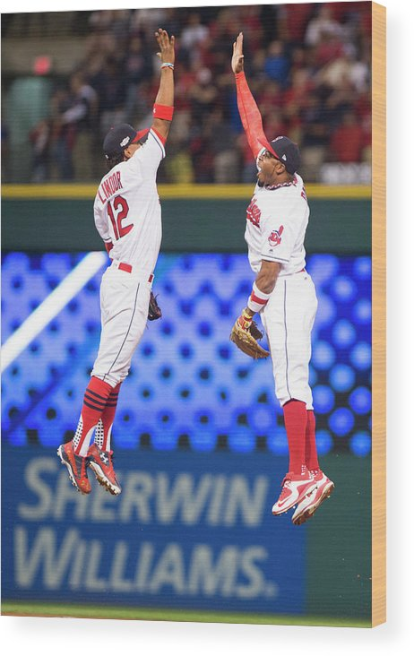 People Wood Print featuring the photograph Rajai Davis and Francisco Lindor by Michael Ivins/boston Red Sox