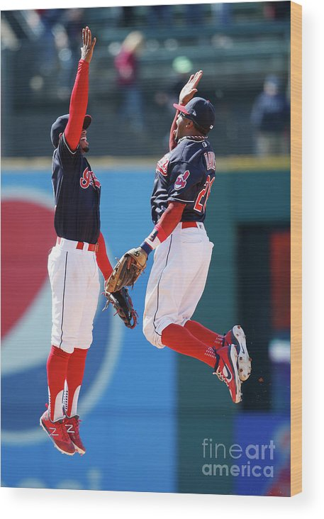 People Wood Print featuring the photograph Rajai Davis and Francisco Lindor by Ron Schwane