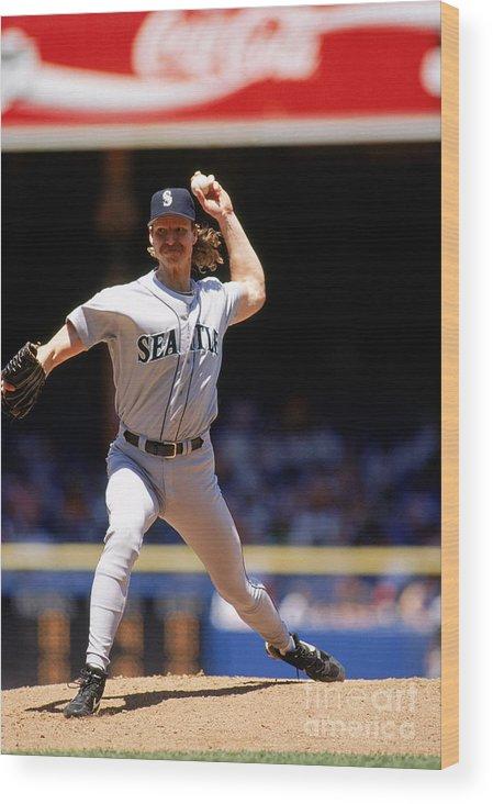 American League Baseball Wood Print featuring the photograph Randy Johnson by John Reid Iii