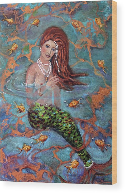 Blue Wood Print featuring the painting Red Headed Mermaid Ophelia Painting by Linda Queally by Linda Queally