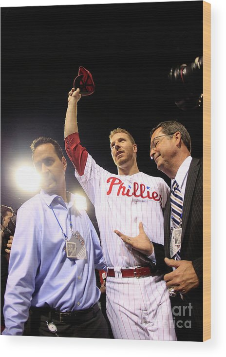 Crowd Wood Print featuring the photograph Roy Halladay by Chris Trotman