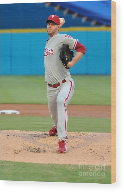 People Wood Print featuring the photograph Roy Halladay by Robert Vigon/florida Marlins