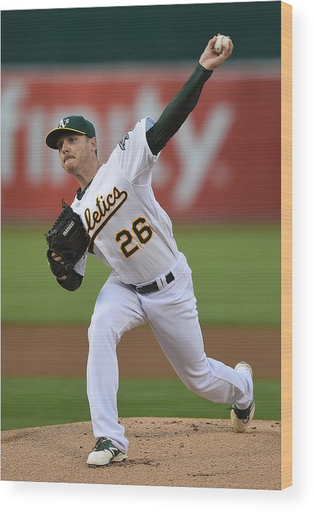 American League Baseball Wood Print featuring the photograph Scott Kazmir by Thearon W. Henderson