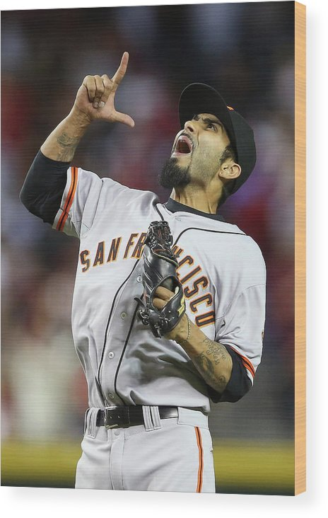Relief Pitcher Wood Print featuring the photograph Sergio Romo by Christian Petersen