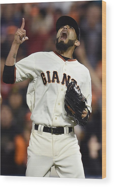 San Francisco Wood Print featuring the photograph Sergio Romo by Thearon W. Henderson