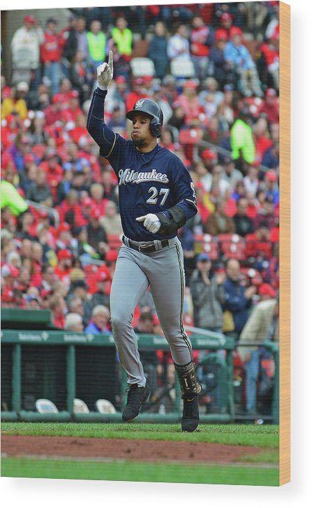 Thank You Wood Print featuring the photograph Shelby Miller and Carlos Gomez by Jeff Curry