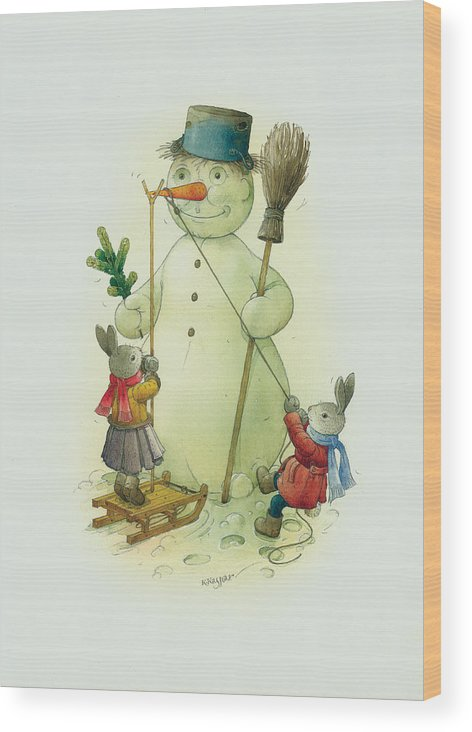 Christmas Snowman Winter Rabbit White Holiday Wood Print featuring the painting Snowmann and Rabbits by Kestutis Kasparavicius