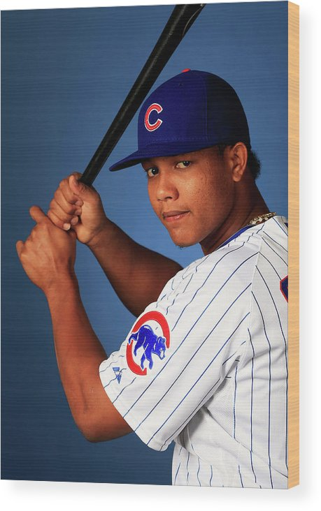 Media Day Wood Print featuring the photograph Starlin Castro by Jamie Squire