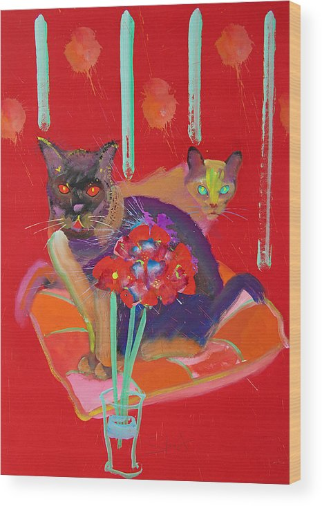 Burmese Cat Wood Print featuring the painting Symphony In Red Two by Charles Stuart