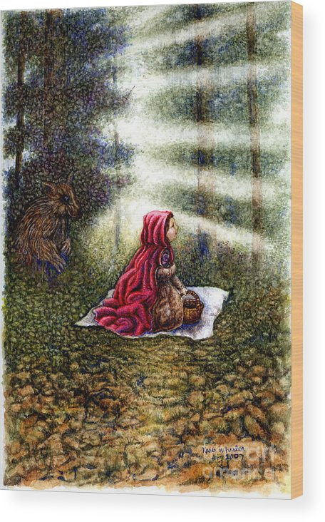Girl In Forest Wood Print featuring the painting The Fate of Little Red Riding Hood Part Two by Karen Wheeler