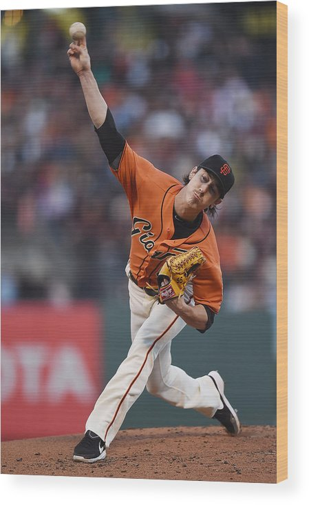 San Francisco Wood Print featuring the photograph Tim Lincecum by Thearon W. Henderson