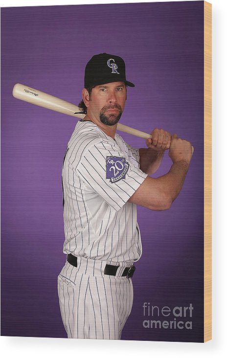 Media Day Wood Print featuring the photograph Todd Helton by Christian Petersen