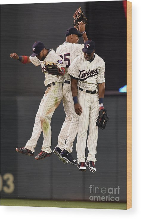 People Wood Print featuring the photograph Torii Hunter, Byron Buxton, and Eddie Rosario by Hannah Foslien