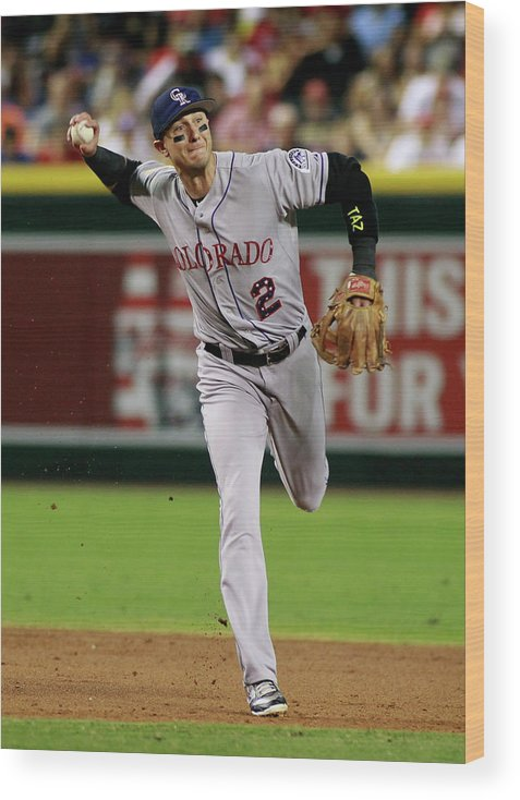 Second Inning Wood Print featuring the photograph Troy Tulowitzki by Ralph Freso