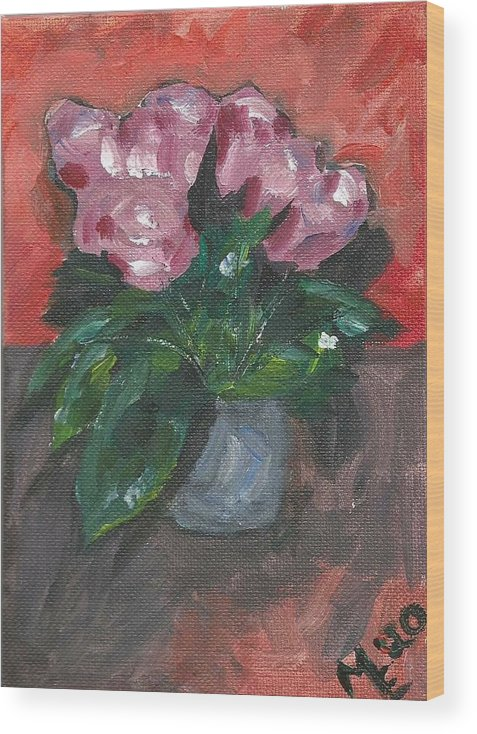Rose Wood Print featuring the painting Vase of Roses by Monica Resinger