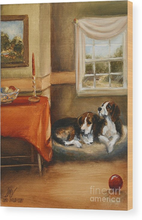 Beagle Wood Print featuring the painting Waiting For The Mistress by Stella Violano