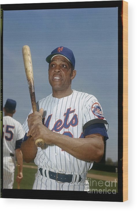 Sports Bat Wood Print featuring the photograph Willie Mays by Louis Requena