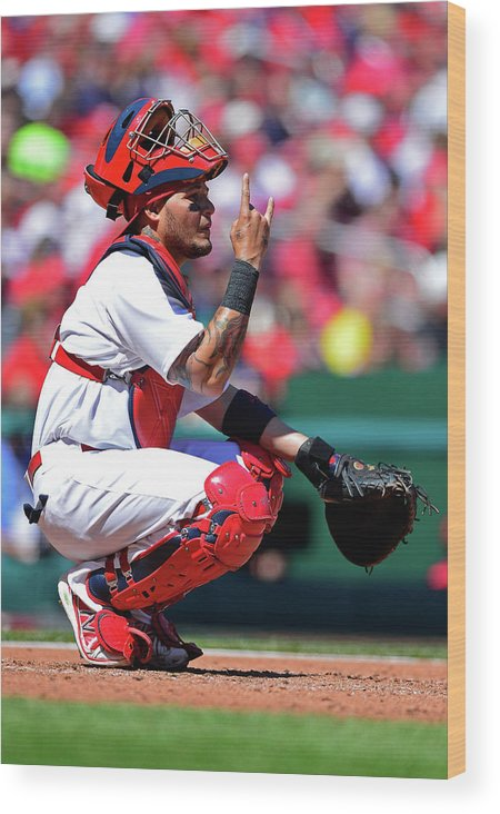 St. Louis Cardinals Wood Print featuring the photograph Yadier Molina by Jeff Curry