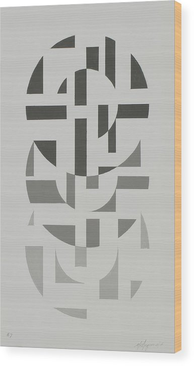 Abstract Geometric Painting Wood Print featuring the painting Arrangement in Gray #7 by Marston A Jaquis