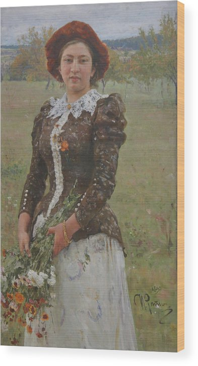 Ilya Repin Wood Print featuring the painting Autumn Bouquet by Ilya Repin