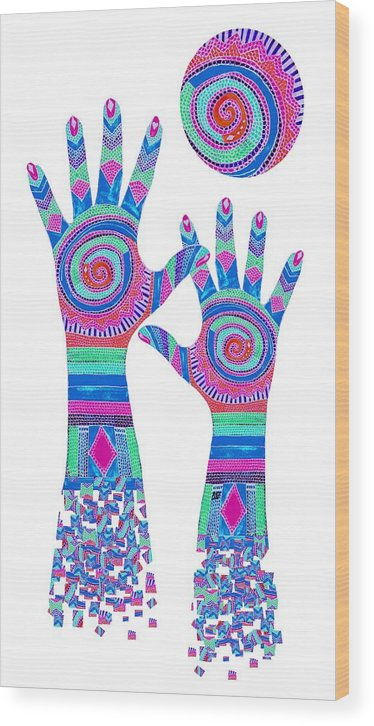 Aboriginal Hands Wood Print featuring the digital art Aboriginal Hands Pastel Transparent Background by Barbara St Jean