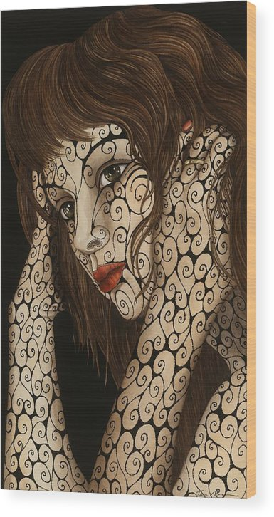 Figurative Wood Print featuring the painting Jezebel by Tina Blondell