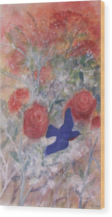 Bluebirds Wood Print featuring the painting Joy of Spring by Ben Kiger