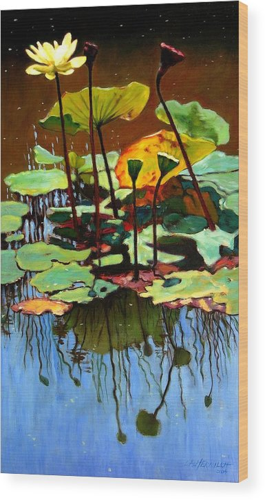 Lotus Flower Wood Print featuring the painting Lotus In July by John Lautermilch