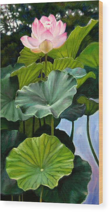 Lotus Flower Wood Print featuring the painting Lotus Rising by John Lautermilch