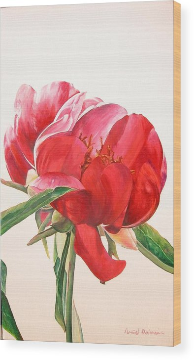 Floral Painting Wood Print featuring the painting Pivoine 2 by Muriel Dolemieux
