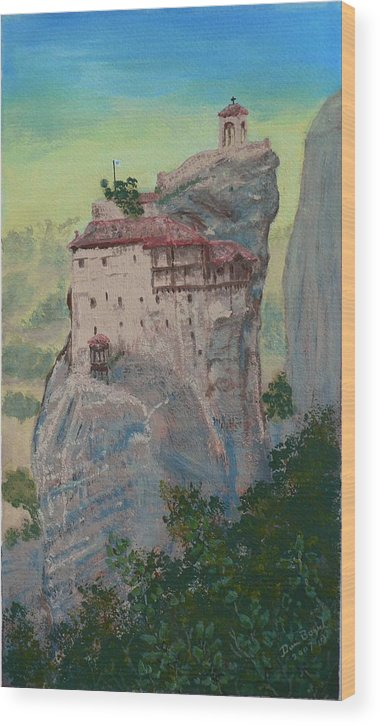 Landscape Wood Print featuring the painting St Nicholas Anapapsas Monastery - Meteora - Greece by Dan Bozich