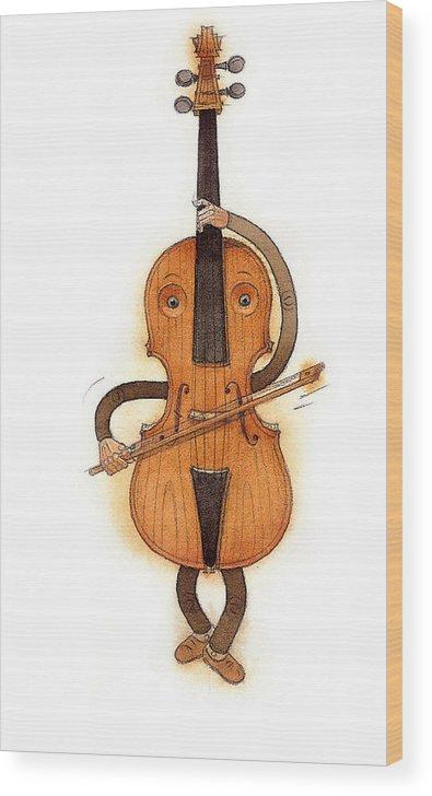 Violin Music Baroque Classical Wood Print featuring the painting Stradivarius Violin by Kestutis Kasparavicius