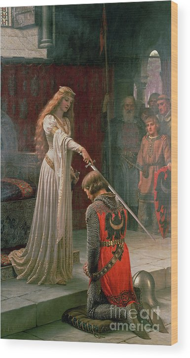 The Wood Print featuring the painting The Accolade by Edmund Blair Leighton