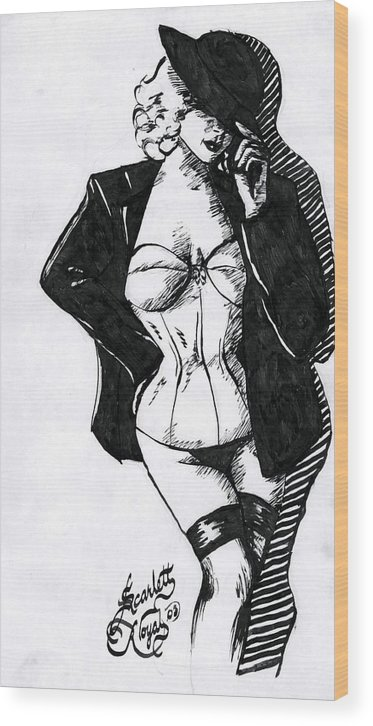 Dancer Wood Print featuring the drawing The Tease by Scarlett Royal