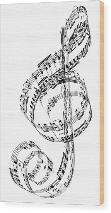 Sheet Music Wood Print featuring the digital art A Treble Clef Made From Beethovens by Ian Mckinnell