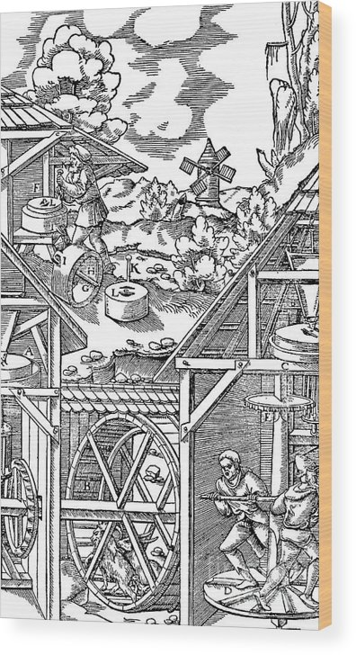 Miner Wood Print featuring the drawing Crushing Gold Bearing Ores In Mills by Print Collector