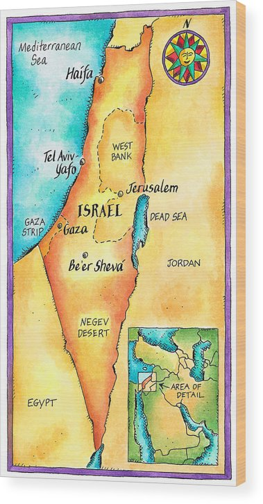 Watercolor Painting Wood Print featuring the digital art Map Of Israel by Jennifer Thermes
