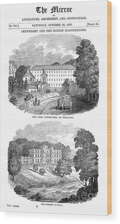 Event Wood Print featuring the drawing The First Cotton Mill At Cromford by Print Collector
