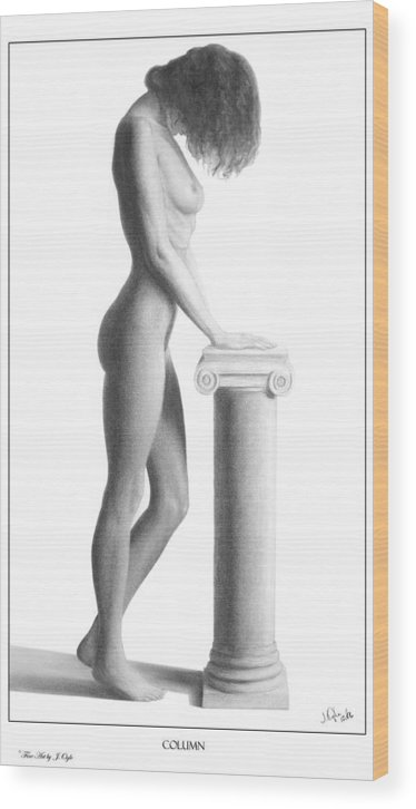 Print Wood Print featuring the drawing Column by Joseph Ogle